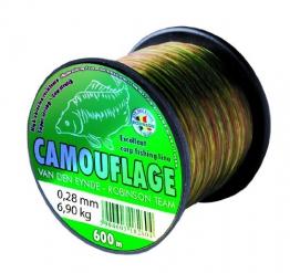 Robinson® Camouflage VDE-R Angelschnur Karpfen-Angeln Tarnfarben Polyamid Co-Polymer Langlebigkeit, Durchmesser / Länge:0.242mm/600m - plus UP® Aufkleber - 1