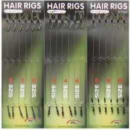 SHADDOCK® 18Karpfenangeln Hair Rigs geflochten Line Gewinde 8340High Carbon Stahl Haken drehbar Boilies Karpfen Rigs zum Karpfen Angeln Zubehör Terminal Tackle -